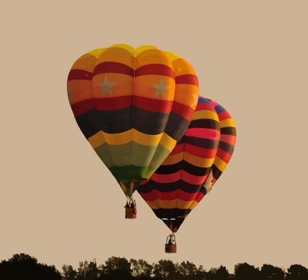 Hot Air Balloons flying above the horizon Vector