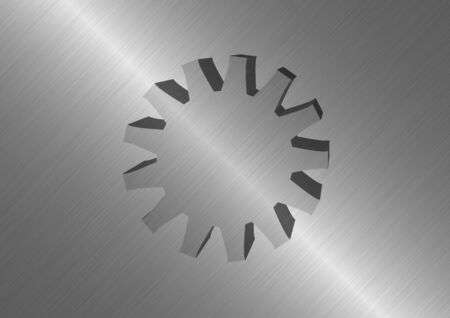 Polished metal background with protruding metal wheel in the middle