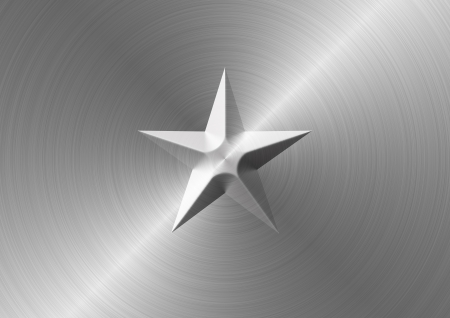 Brushed metal texture with bevelled star symbol in the middle. Stock Photo - 21463552