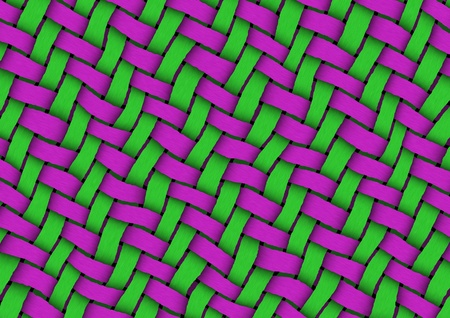 Detailed texture of ribbon weave in green and magenta colors Stock Photo - 21463616