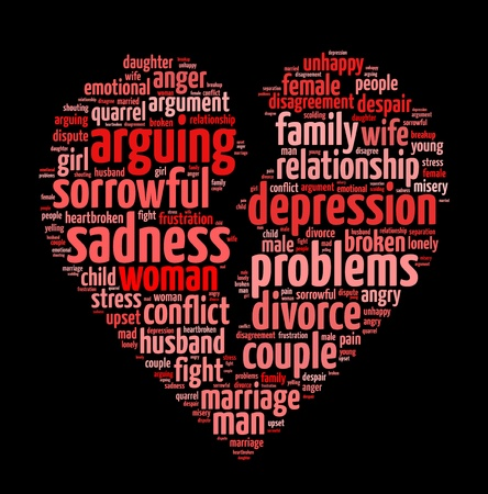 Conceptual words illustration of divorce and failed relationship in black background Stock Photo
