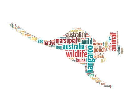 Words illustration of a kangaroo in white background Stock Photo