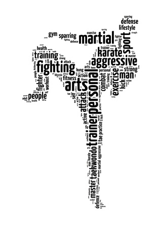 Words illustration of a man doing martial arts training in white background