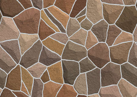 Seamless pattern and texture of stone wall in brown Stock Photo