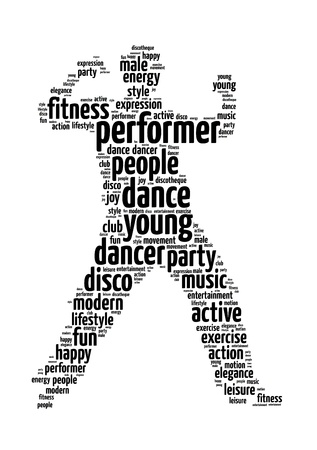 Words illustration of a man dancing in white background.