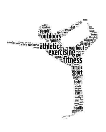 Words illustration of a woman doing exercise in white background