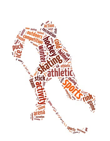 Words illustration of a man playing hockey over white background