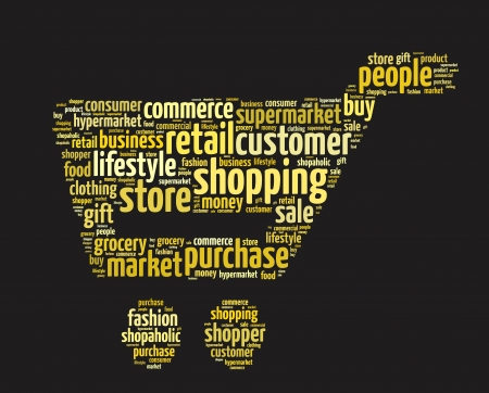 Words illustration of a shopping trolley over black background Stock Photo