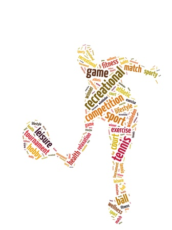 Words illustration of a tennis player in white background Stock Photo