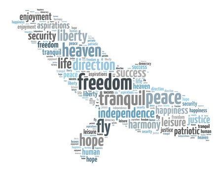 Words illustration of a the concept of freedom over white background