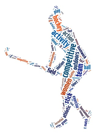 Words illustration of a woman playing field hockey over white background