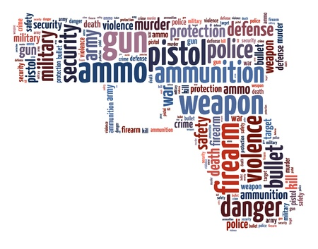 Words illustration of a pistol in white background. Stock Photo