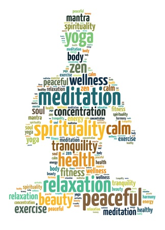 Words illustration of a person doing meditation in white background