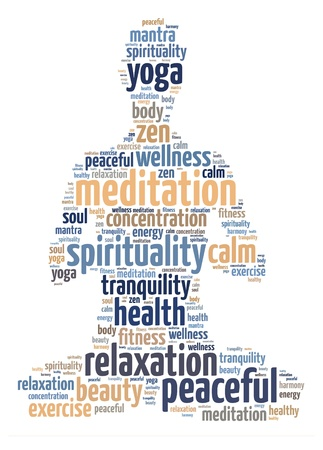 Words illustration of a person doing meditation in white background. Stock Photo