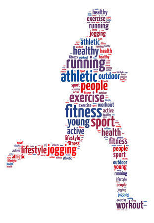 Words illustration of a man jogging over white background Stock Photo