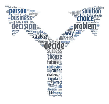 making decision: Words illustration of the concept of decision making over white background