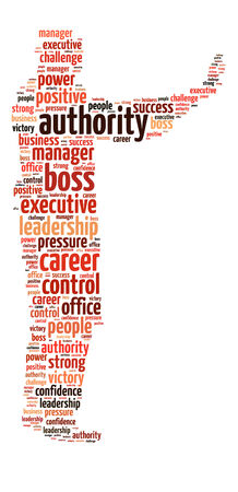 Conceptual words illustration of the authority and power over white background