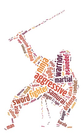 Words illustration of the martial arts fighting over white background illustration