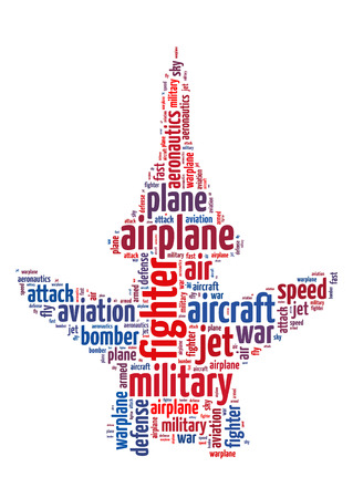 aeronautics: Words illustration concept of a jet fighter over white background Stock Photo