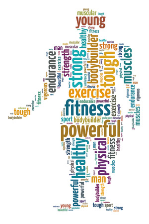 Words illustration concept of a physical exercise over white background