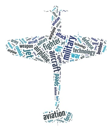 Words illustration of the warplane over white background illustration