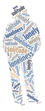 Conceptual words illustration of the loneliness over white background