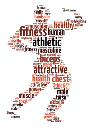 Words illustration of the bodybuilder over white background Stock Photo