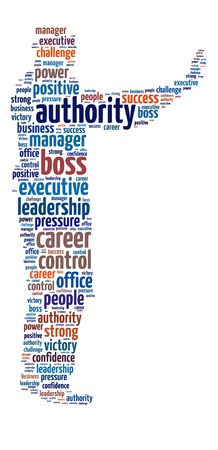 dictator: Conceptual words illustration of the authority and power over white background