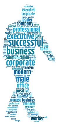 Words illustration of the concept of successful businessman over white background