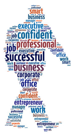 Words illustration of a businessman over white background