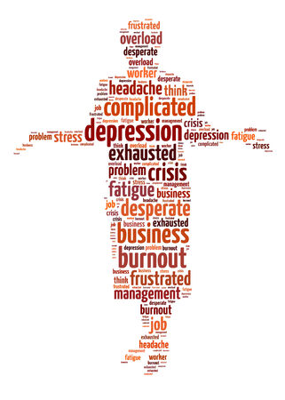 Words illustration of the concept of depression and stress over white background