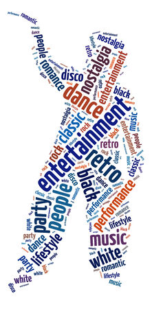 Conceptual words illustration of retro dance over white background Stock Photo