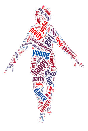 Words illustration of the nightlife and clubbing over white background