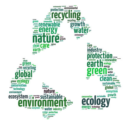 Words illustration of Recycling Concept over White Background Stock Photo