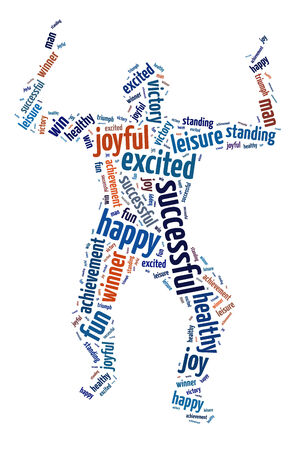Words illustration of the concept of happiness and joy over white background