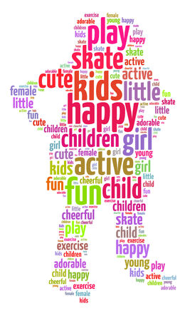Words illustration of a happy kid playing over white background Stock Photo