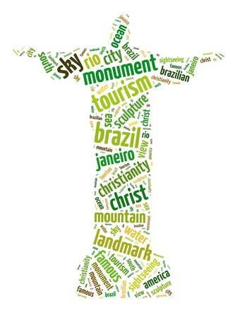 Words illustration of the famous Christ the Redeemer statue in Rio de Janeiro, Brazil