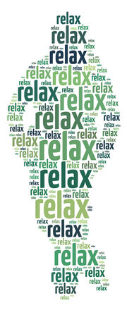 Conceptual words illustration of the word Relax over white background