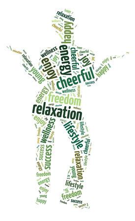 Words illustration of the concept of relaxation and peace over white background