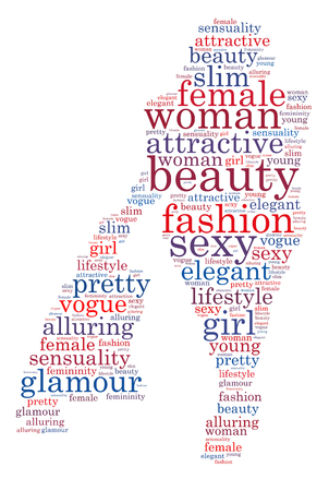 Words illustration of sexy, alluring woman over white background