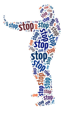 Conceptual words illustration of the word stop over white background