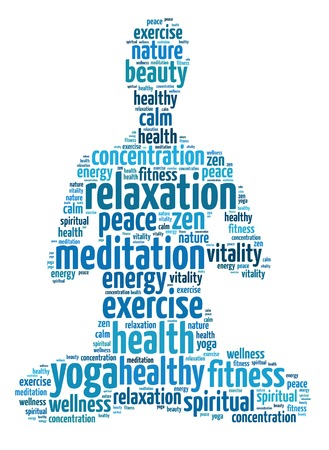 woman meditation: Words illustration of the concept of yoga and meditation over white background Stock Photo