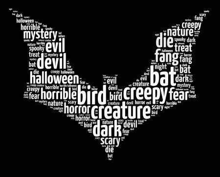 Words illustration of a Halloween themed bat over black backgrouind