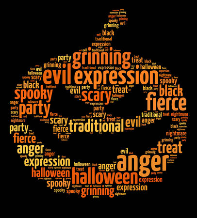 Words illustration of a Halloween themed pumpkin over black backgrouind
