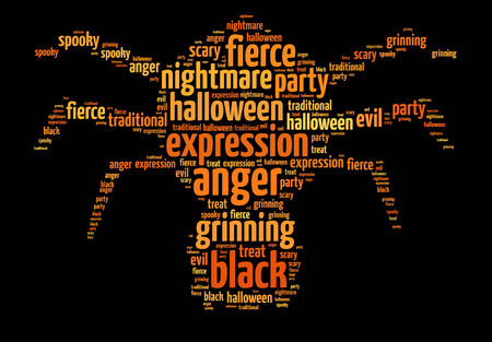 Words illustration of a Halloween themed spider over black background