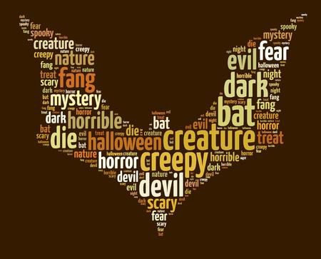 Words illustration of a Halloween themed bat over dark backgrouind