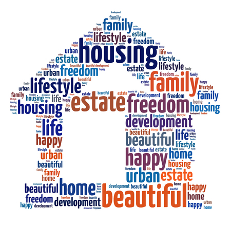 Words illustration of the concept of home over white background Stock Photo