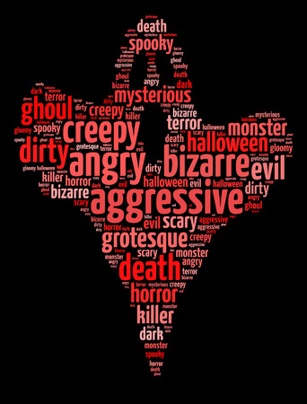 Words illustration of scary ghost over black