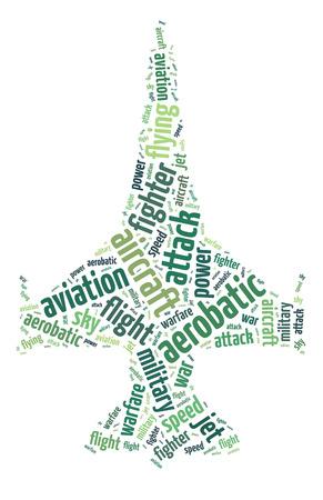 Words illustration of a jet fighter over white