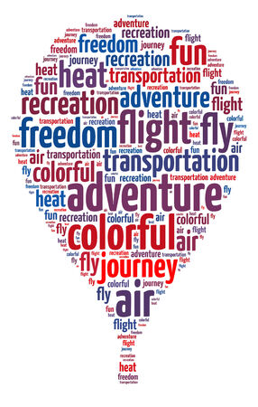 Words illustration of a hot air balloon over white